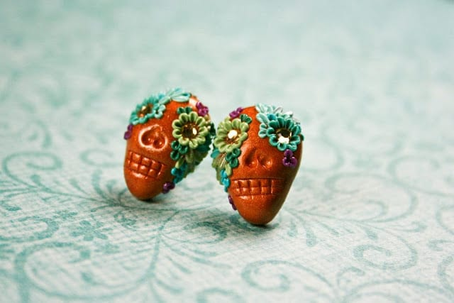 day of the dead earrings chili crab etsy