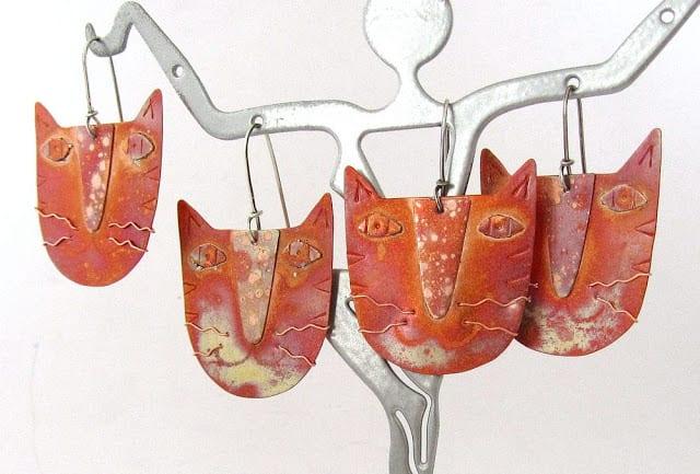 Handmade Copper Cat Earrings Copperista Etsy