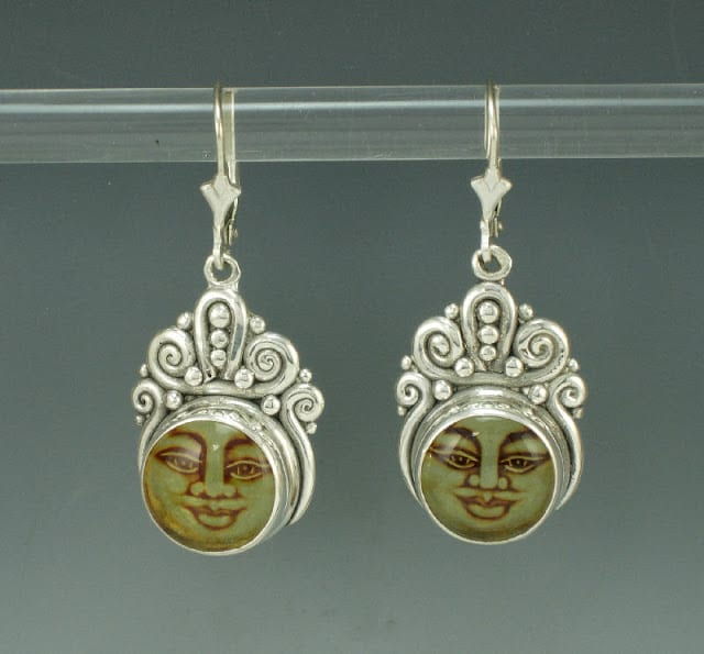 moon face amber and silver earrings denim and dia jewelry etsy
