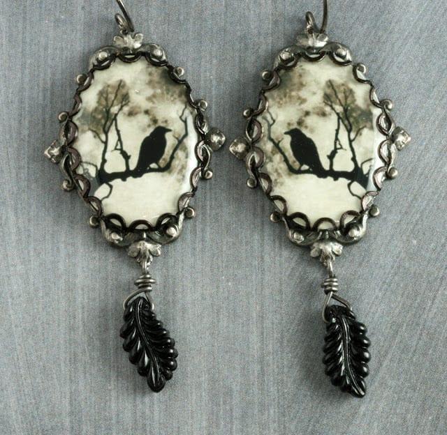 Halloween Black Raven Earrings For The Cross Jewelry Etsy