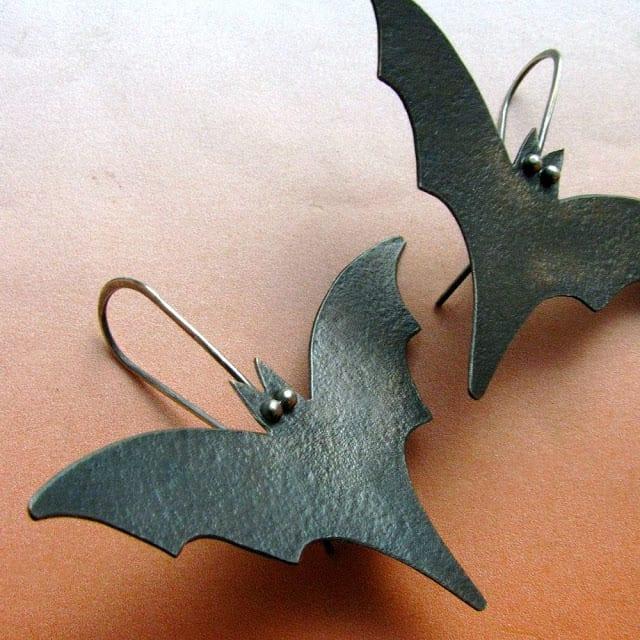 Black Bat Earrings Sun Tribe Designs Etsy