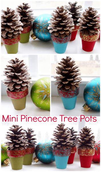 Pinecone Crafts: Mini Pinecone Tree Pots you can make in about 15 minutes!