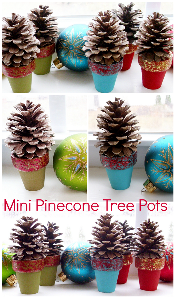 Pinecone crafts mini pinecone tree pots pet scribbles for Pine cone christmas ornaments crafts