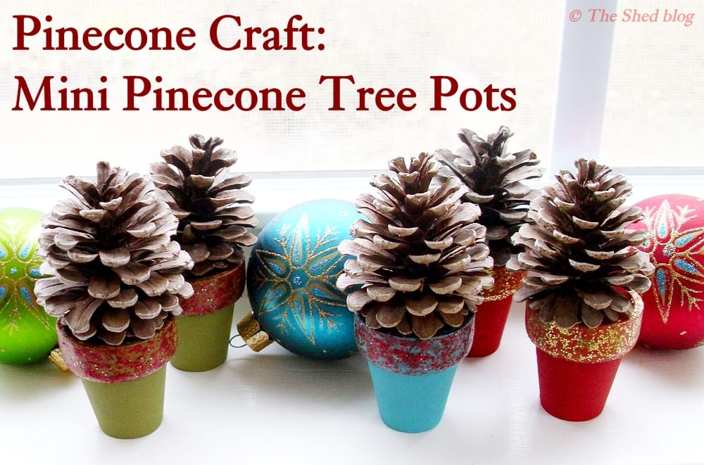 Pinecone crafts mini pinecone tree pots pet scribbles for Pine cone crafts for children