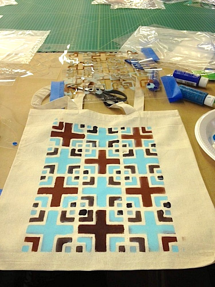 Geometric stencil on canvas tote bag