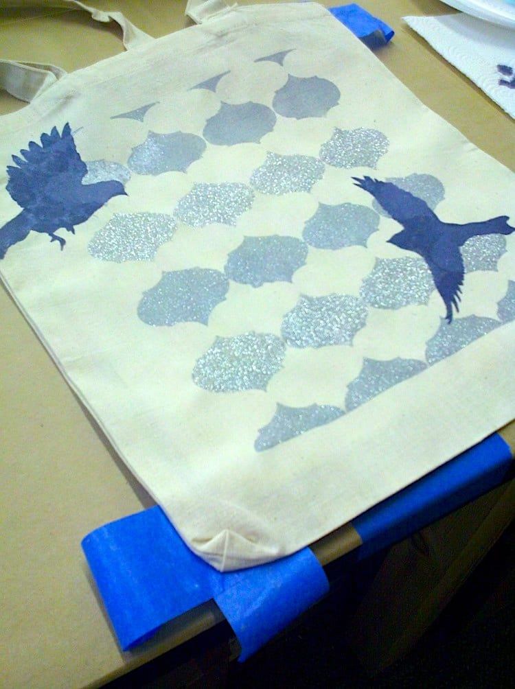background stencil with birds on tote bag