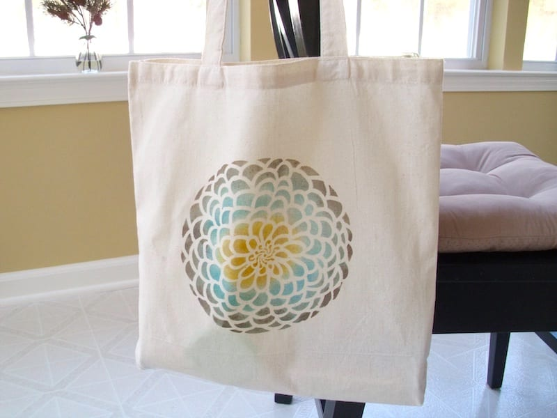 floral stencil on canvas tote bag