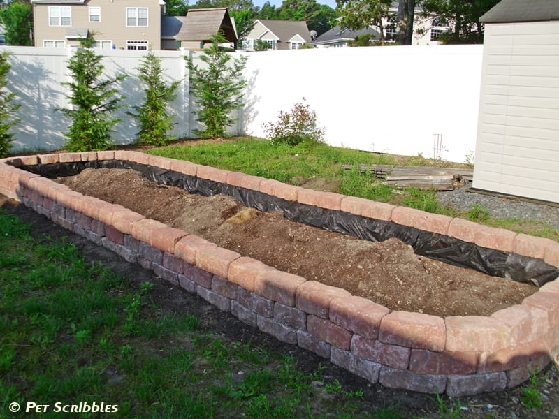 DIY Raised Garden Bed, after three levels of pavers are in place