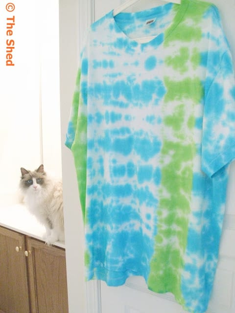 How to tie dye a t-shirt with an off-center stripe!