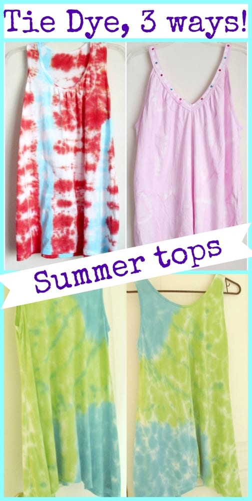 How to Tie Dye Tank Tops, 3 ways! | Pet Scribbles