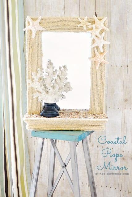 DIY Coastal Rope Mirror | At The Picket Fence