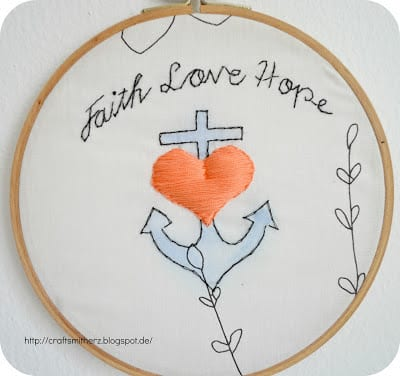 Faith-Love-Hope Embroidery Pattern | Crafts mit Herz