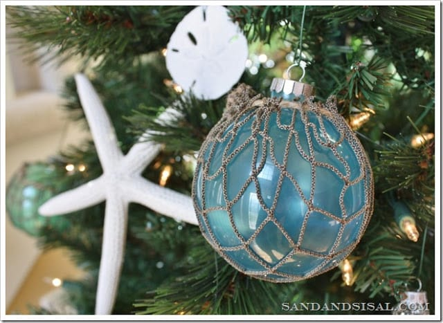 Glass Float Ornament DIY | Sand and Sisal