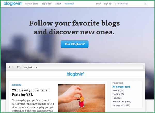 Bloglovin' - easy solution to importing and following blogs once Google Reader retires