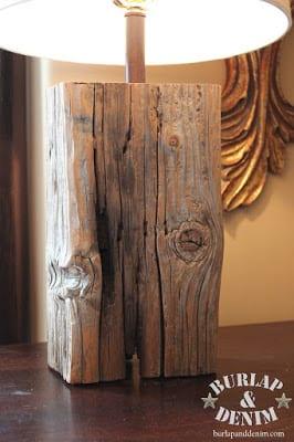 Salvaged Wood Lamp DIY | Burlap and Denim