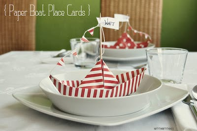 Paper Boat Place Cards DIY | Nifty Thrifty Things