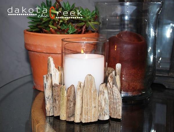 Driftwood Candle Holder Tutorial | Dakota Creek Chic