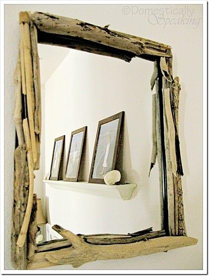 Pottery Barn'ish Driftwood Mirror DIY | Domestically Speaking