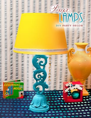 Faux Table Lamps made from candlesticks | Hostess with the Mostess