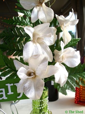white silk fabric flowers used in the 60th anniversary centerpiece