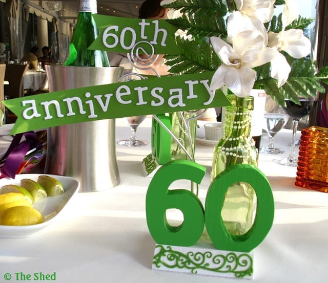 DIY - 60th Wedding Anniversary centerpiece