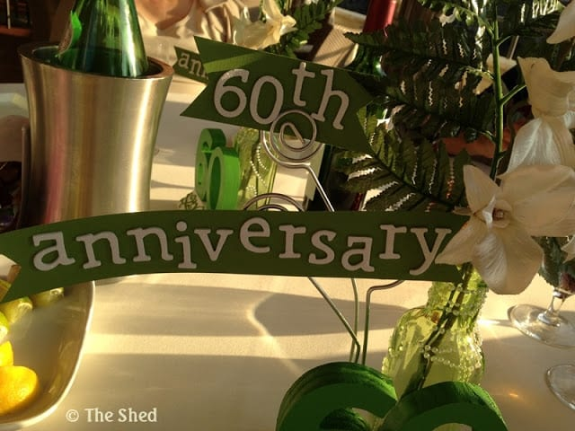 60th Anniversary lettering on centerpiece