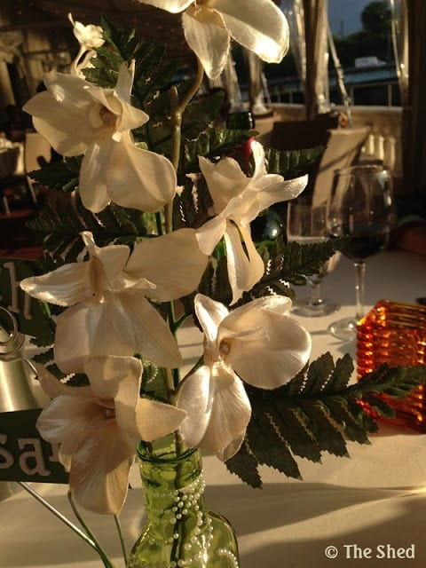 Up close shot of the white silk fabric flowers - 60th anniversary centerpiece