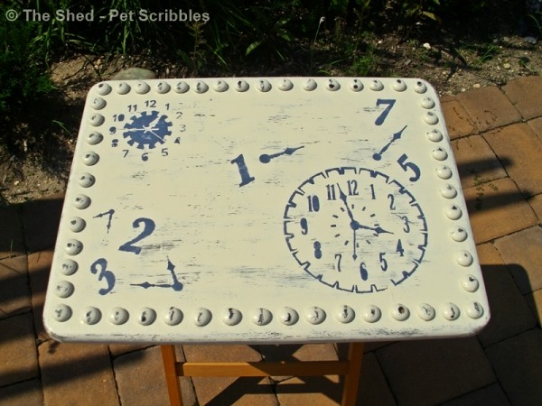 This tray table went from old and drab to trendy and fab!