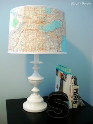 Lampshade Revamp Using Maps | Silver Boxes