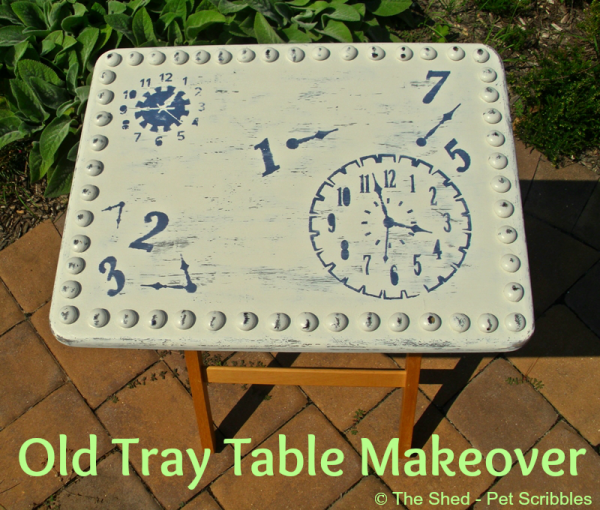 "Old Tray Table Makeover - with paint, stencils, sanding and DIY ""faux"" hobnails!"