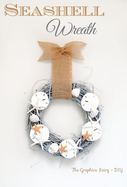 Coastal Style Seashell Wreath DIY | The Graphics Fairy