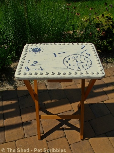 Tray Table Makeover - the hobnails are actually painted glass gems!