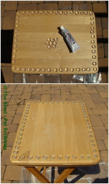To mimic a hobnail border, adhere basic glass gems to your wood surface! Then paint everything!