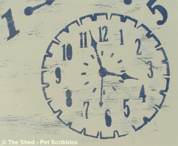 Close up of the Americana Timeless Treasures clock stencil, after being sanded.