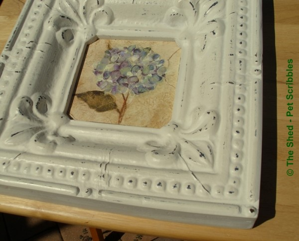 My inspiration piece: I love this frame's distressed details and the hobnail border!