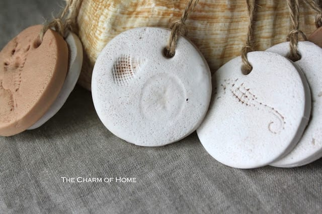 Polymer Clay Tags with shell imprints | The Charm of Home