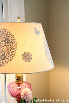 DIY Gilded Reverse Stencil Lampshade | Eclectically Vintage