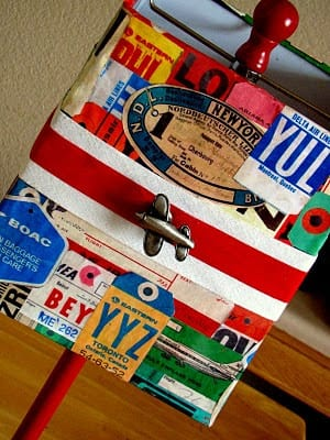 DIY Vintage Luggage Tags Lampshade | Too Much Time On My Hands