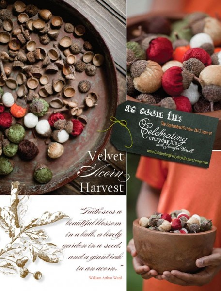Velvet acorns, along with natural acorn shells make for an elegant and rustic display.