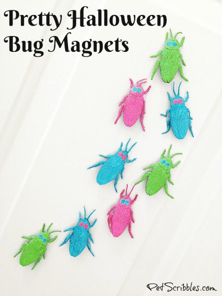 Pretty Glittered Halloween Bug Magnets