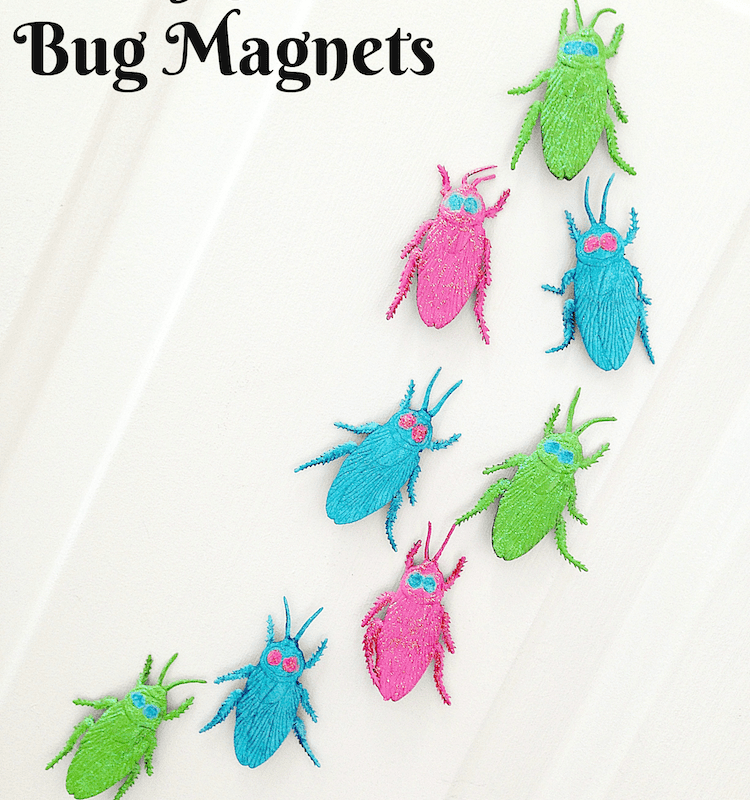Pretty Glittered Halloween Bug Magnets (cockroaches) you can make in 15 minutes!