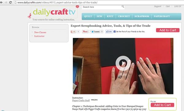 Screenshot of Expert Scrapbooking Advice class on DailyCraftTV.com
