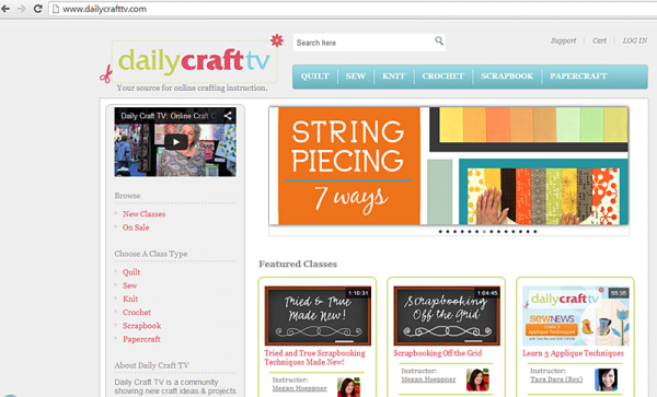 Screenshot from the Daily Craft TV website which offers lots of crafting videos!