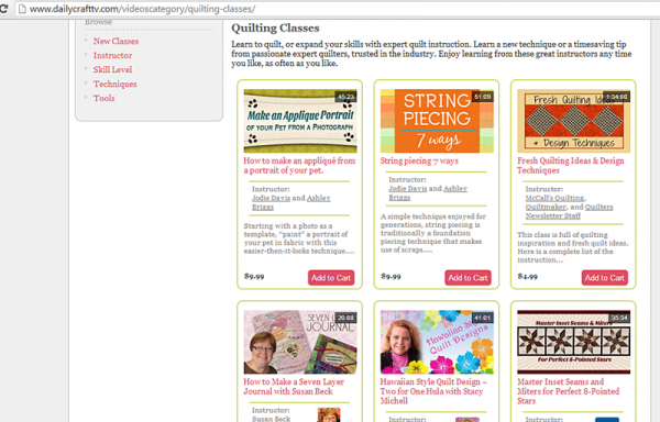 Screenshot of quilting class offerings on Daily Craft TV's website