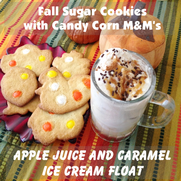 Super Easy Fall Recipes: Candy Corn Sugar Cookies and Apple Juice Ice Cream Float #HarvestFun #shop #recipe