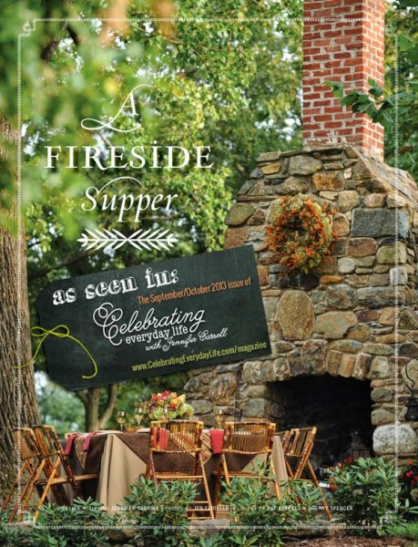This gorgeous outdoor fireplace would be great to cozy up to in the Fall!