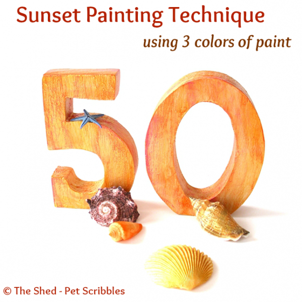Sunset Painting Technique using 3 colors of paint: You can create a color wash on unfinished or painted wood that has some depth with this simple technique.