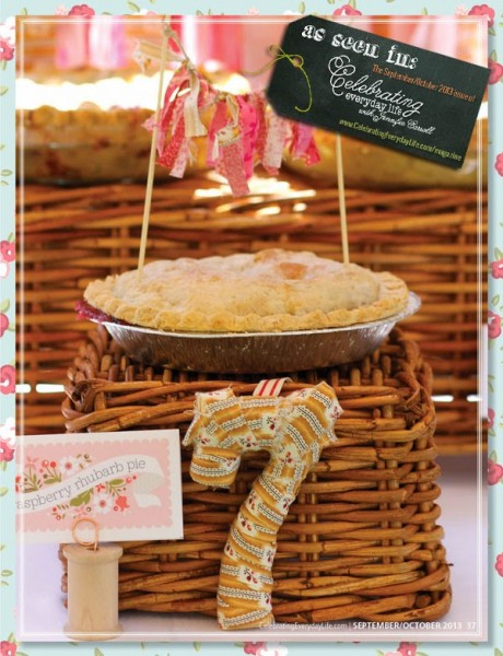 apple pie, along with scrappy fabric bunting and fabric-covered number