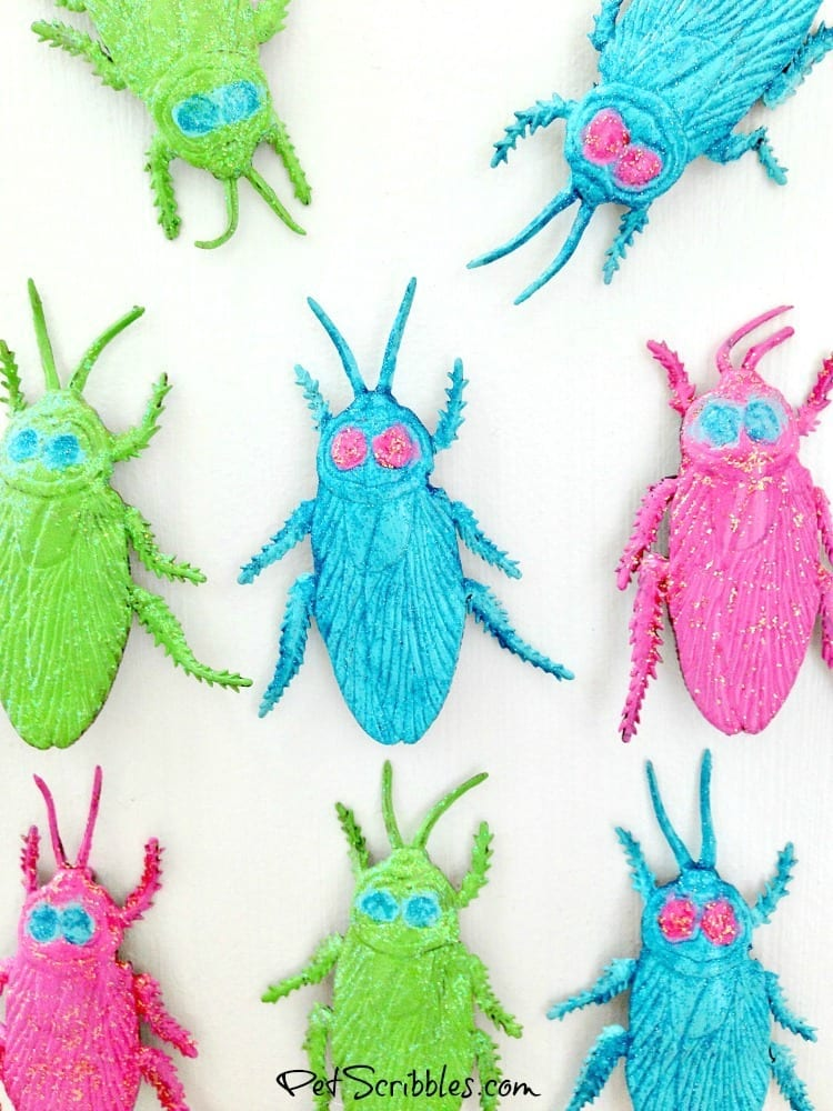 Pretty Glittered Halloween Bug Magnets