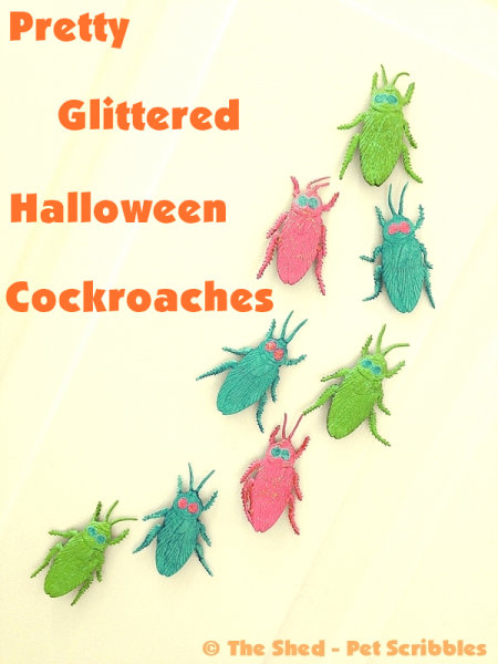 """Painted and Glittered Halloween Bug Magnets: you can """"pretty up"""" fake rubber bugs in 15 minutes!"""